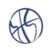 icône de style de forme libre sport ballon de basket-ball vecteur