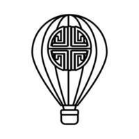célébration de la mi-automne avec l'icône de style de ligne chaude d'air de ballon vecteur