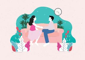 Couple Chill Sur Le Canapé Vol 2 Vecteur