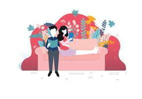 Couple Chill Sur Le Canapé Vol 3 Vecteur
