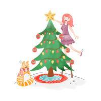 Arbre de Noël mignon avec fille et chat vecteur