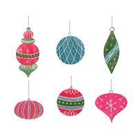 Collection de boule de Noël mignonne vecteur