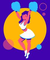 Illustration de la pom-pom girl vecteur