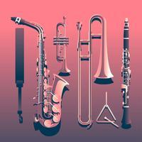 Instruments de musique en laiton Angle Knolling vecteur