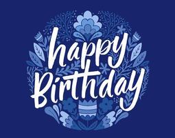 carte florale joyeux anniversaire vecteur