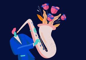 Saxaphone joueur dans un concert de jazz fond plat vecteur