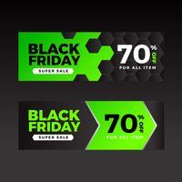 Modèle de bannières vertes vente vendredi noir vecteur