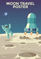 Vecteur d'affiche de voyage heureux astronaute lune