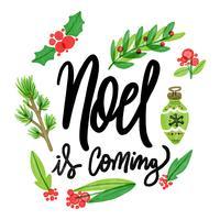 Éléments de Noël aquarelle mignons avec lettrage à propos de Noël vecteur