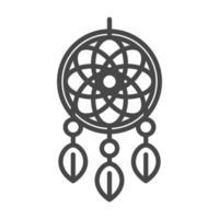 attrapeur de rêves décoration tribale ornement style icône linéaire vecteur