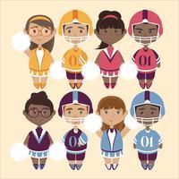 Illustrations mignonnes de vecteur de pom-pom girls