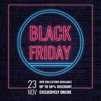 Bannière de néon vecteur noir vendredi vente