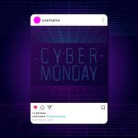 Modèle de message pour les médias sociaux rétro Cyber Monday vecteur