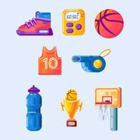 Éléments de basket-ball vecteur