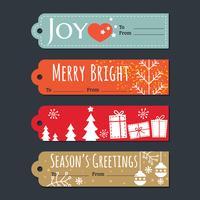 Jeu d'étiquettes et étiquettes de cadeau de vacances de Noël vecteur