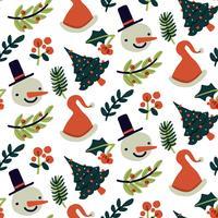 Joli motif de Noël avec bonhomme de neige, arbre et feuilles vecteur
