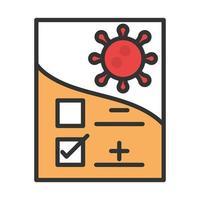 échantillon de résultats positifs de recherche de diagnostic covid19 pour la ligne de coronavirus et remplissage vecteur