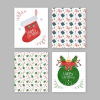 Collection de cartes de Noël mignonne avec motif, boule de Noël et chaussettes vecteur