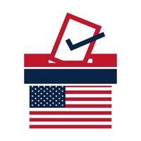États-Unis élections drapeau américain vote et urne campagne électorale politique conception d'icône plate vecteur