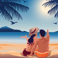 Couple confortable sur la plage vecteur