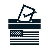 États-Unis élections drapeau américain vote et urne campagne électorale politique silhouette icône conception vecteur