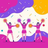 Équipe de pom-pom girls sportives sur fond funky