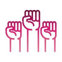 icône du mouvement féministe poings levés style dégradé des droits des femmes vecteur