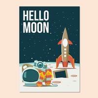 Bonjour lune ou allons à l'illustration de l'espace vecteur