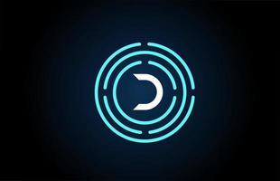 d conception d'icône de lettre blanche avec des cercles bleus. création de logo alphabet. image de marque pour les produits et l'entreprise vecteur