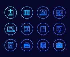 icônes de bureau avec dossiers de documents et courrier vecteur