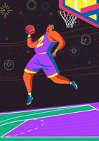 Action de basketteur vecteur