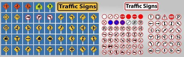 Définir des panneaux de signalisation, interdiction, avertissement cercle rouge symbole signe isoler sur fond blanc, illustration vectorielle vecteur