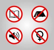Panneaux d'interdiction et divers signe d'avertissement icône symbole signe isoler sur fond blanc, illustration vectorielle eps.10 vecteur