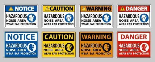 zone de bruit dangereux porter une protection auditive sur fond blanc vecteur