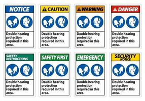 double protection auditive requise dans cette zone avec des cache-oreilles et des bouchons d'oreille vecteur