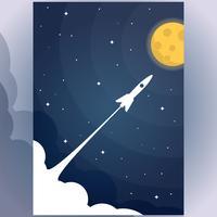 Fusée volante dans l'étoile à la pleine lune Illustration Design plat vecteur