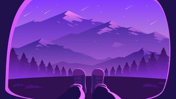 Vecteur de première personne de paysage de montagne étoiles filantes