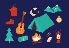 Icône plate de camping vecteur
