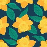 motif floral sans couture. fond de vecteur de fleur de jonquille jaune et de feuilles vertes