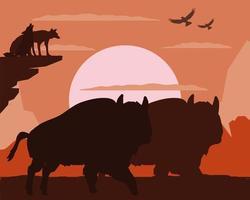 loups bison silhouette vecteur