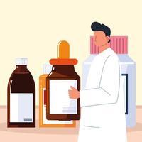pharmacien avec compte-gouttes vecteur