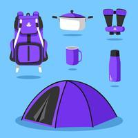 Vecteur de matériel de camping knolling