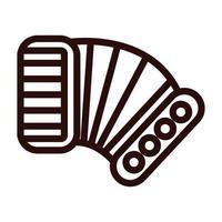 icône de style de ligne instrument de musique accordéon vecteur