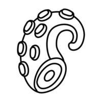 icône de style de ligne tentacule de poulpe vecteur
