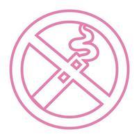 ne fumez pas l'icône de style de ligne cigarretes vecteur