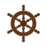 icône de style plat de gouvernail de bateau en bois vecteur