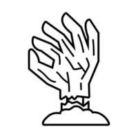 icône de style de ligne de main de mort vecteur
