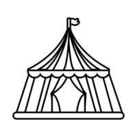 icône de style de ligne juste tente de cirque vecteur