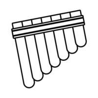 icône de style de ligne instrument de musique flûte de pan vecteur