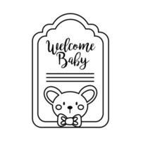 carte de cadre de douche de bébé avec koala et style de ligne de lettrage de bienvenue pour bébé vecteur